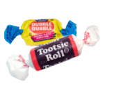 Tootsie roll and bubble gum roll